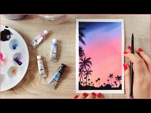 How to Paint a Watercolor Cotton Candy Sunset Sky with Palm Trees – Paint Along With Me!