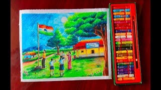 Independence Day scenery drawing with oil pastel॥15 August