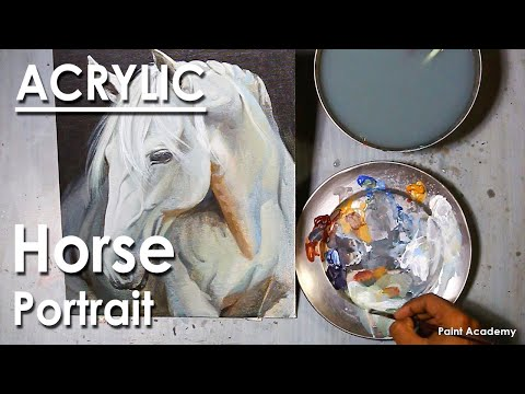 Acrylic Painting : How to Paint A Horse Portrait | step by step