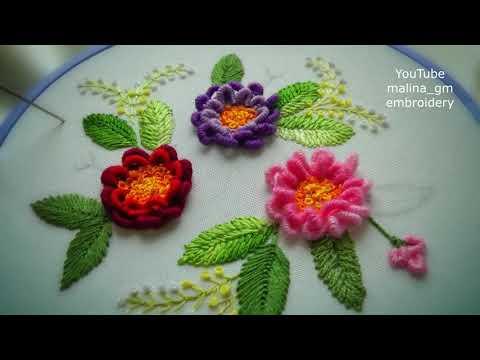 Flowers running bullion stitch | flowers fantasy |new design embroidery