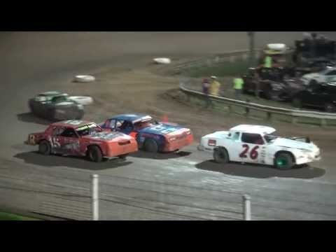 IMCA Stock Car feature Dubuque Speedway 7/27/16 - dirt track racing video image