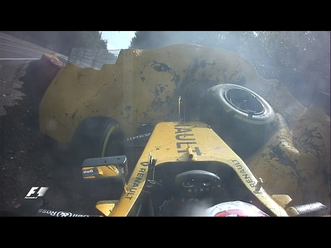 Magnussen Crashes At Eau Rouge | Belgian Grand Prix 2016
