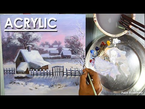 How to Paint Snowy Winter Morning with House & Smoke Coming Out of the Chimney in Acrylic