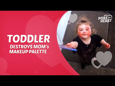 Toddler Destroys Mom's Makeup Palette and Smears it All Over her Face and Furniture