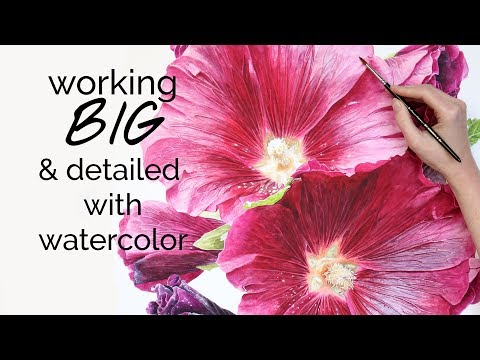 How to create a big and detailed Hollyhock painting in watercolour
