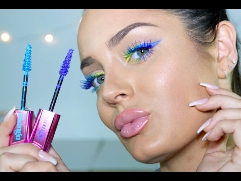 Bright Neon Ombre Liner AND Matching Lashes! Fun Make Up Tutorial