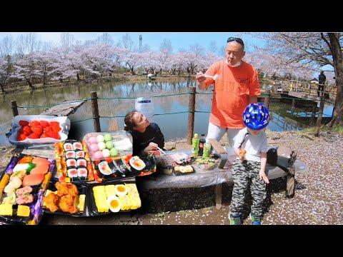 Gà chiên,Mochi, Sushi, Dâu Tây dưới tán hoa Anh Đào mùa Xuân cùng gia đình Quỳnh #867