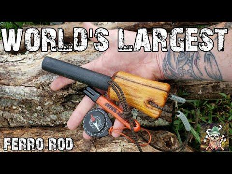 """Worlds LARGEST Fire Steel 🔥 Monster 1"""" Ferrosenium Rod"""