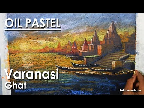 Oil Pastel Drawing : A Composition on Varanasi Ghat | steps to follow