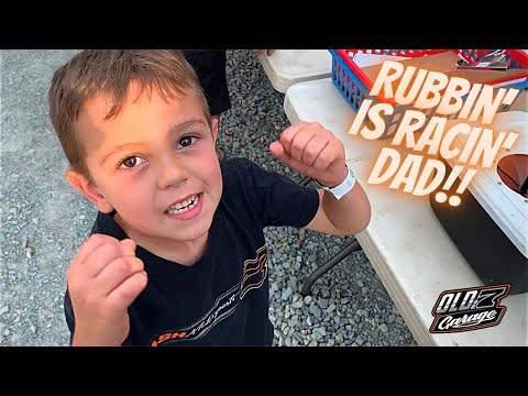 Our little racer gets a little rowdy at the track! - Kart Racing night #6 - Doe Run Raceway - dirt track racing video image