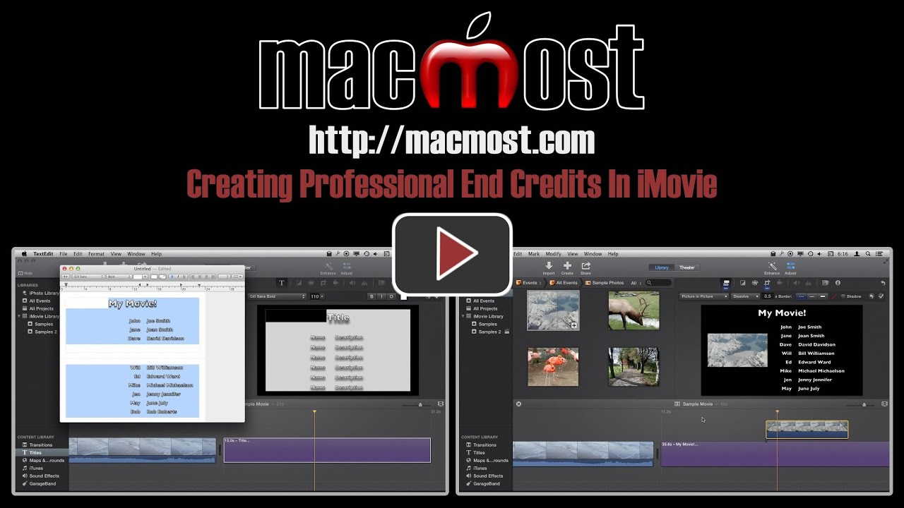 how to add credits in imovie movie