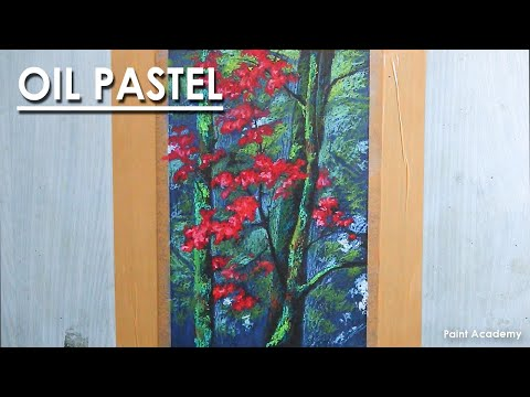 Oil Pastel Drawing : Beautiful Autumn Trees