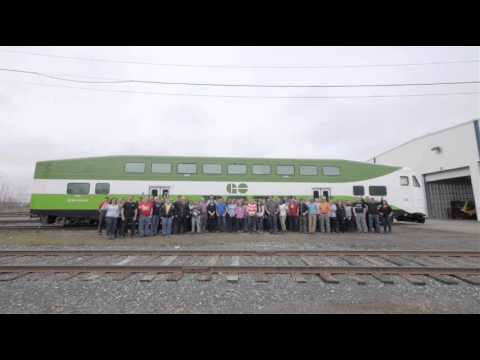 Delivery of the first vehicle of Bombardier's BiLevel cars for Metrolinx / GO Transit