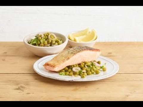 Pan-fried salmon with Sarson's quick-pickled pea and shallot salad