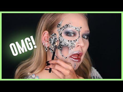 APPLYING 1000+ DIAMONDS ON MY FACE FOR HALLOWEEN! | NikkieTutorials
