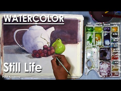 Watercolor Still Life Painting : Kettle and Fruits