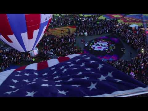 View from Verizon balloon carrying the American flag during Balloon Fiesta
