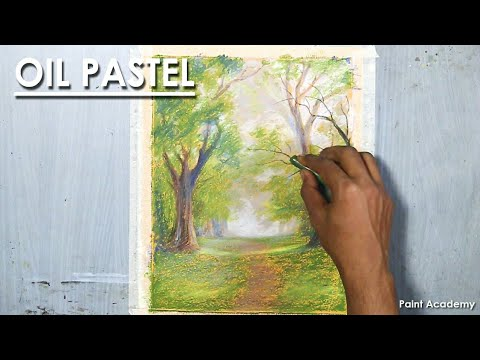 Road through the Forest : Oil Pastel Scenery Drawing