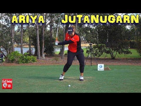 ARIYA JUTANUGARN SLOW MOTION FACE ON FAIRWAY WOOD GOLF SWING 1080 HD