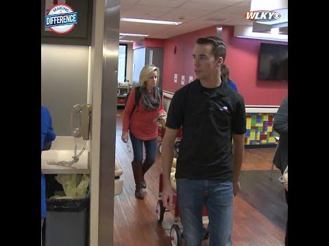 NASCAR truck driver, Louisville native Ben Rhodes visits Norton Children's Hospital