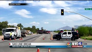Tucson emergency services assist Southwest Gas with gas line break