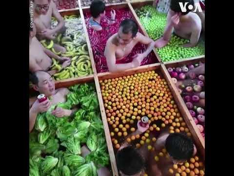 Suối nước nóng rau quả ở Trung Quốc (VOA)