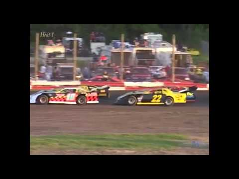 Full race from the Super Late Model division at Merritt Speedway in MI June 12, 2004. Eric Spangler outraces Frank Cedar for the feature win. - dirt track racing video image