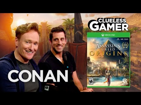 "Clueless Gamer: ""Assassin's Creed Origins"" With Aaron Rodgers  - CONAN on TBS - UCi7GJNg51C3jgmYTUwqoUXA"