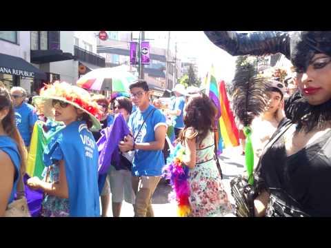 HAPPY PRIDE PARADE VANCOUVER GAY LGBT MARCH ALONG DAVIE STREET