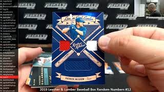 7/5/2019 2019 Leather & Lumber Baseball Box Random Numbers #12