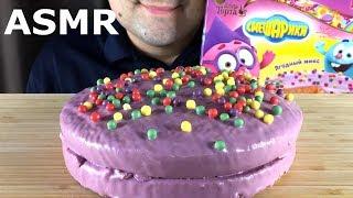 ASMR PINK CAKE SMESHARIKI with CRUNCHY RAINBOW BALLS (Eating Sounds) Mukbang *NO TALKING*