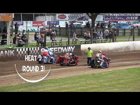 All of the races for the Sidecar Summer Cup held at Rosebank Speedway on Sunday 09 December 2018 - there were 4 rounds of 3 heats, and the 4 top points scorers went through to the final - dirt track racing video image