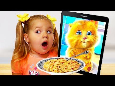 Diana and Funny Cat eats Breakfast and Plays - UCk8GzjMOrta8yxDcKfylJYw