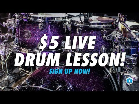 $5 Live Drum lesson tonight! (and every month moving forward) Sign up now!