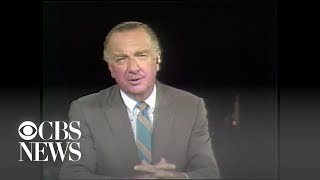 """Walter Cronkite kicks off CBS News report on Apollo 11, """"the most dangerous, but most thrilling"""" …"""