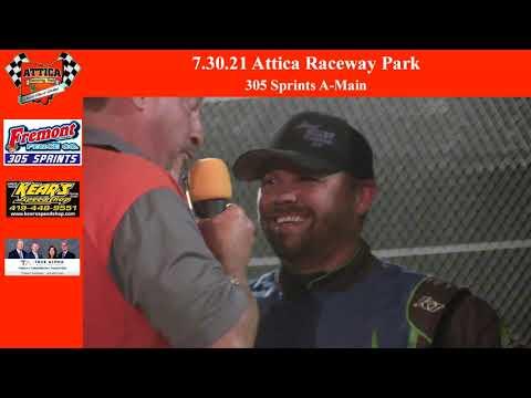 7.31.21 Attica Raceway Park 305 Sprints A-Main - dirt track racing video image