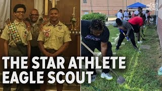 High school athlete scores as an Eagle Scout