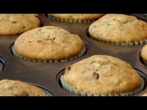Banana and Chocolate Chip Muffin Recipe - by Laura Vitale - Laura in the Kitchen Ep 131 - UCNbngWUqL2eqRw12yAwcICg