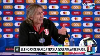 Ricardo Gareca se enojó con un periodista peruano tras la derrota ante Brasil