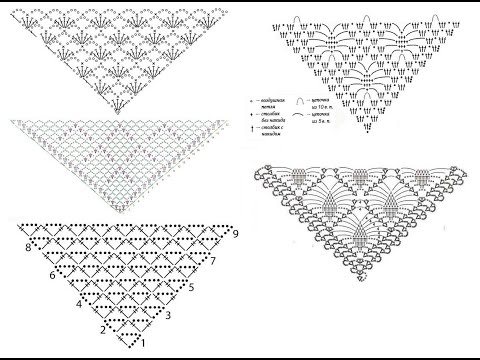 Ажурные узоры для шали крючком - идеи и схемы для вязания