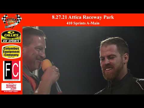 8.27.21 Attica Raceway Park 410 Sprints A-Main - dirt track racing video image