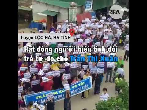 Hà Tĩnh: Người dân biểu tình đòi trả tự do cho bà Trần Thị Xuân © Official RFA