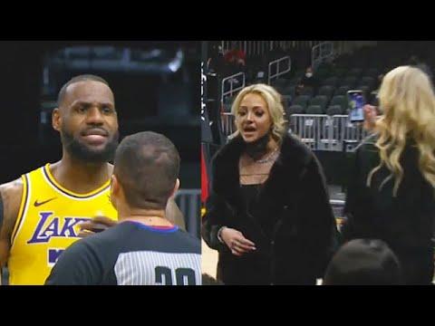 LeBron James Kicks Woman Out The Game For Trash Talking! Lakers vs Hawks