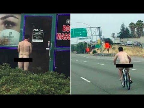 """""""Trần trụi"""" đạp xe trên xa lộ California"""