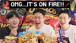 Korean Boys Reaction To American Spicy Chips, Koreans Try American Snacks