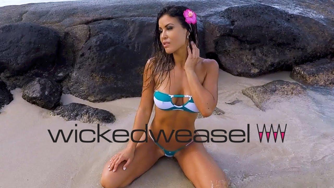 Wicked Weasel In Hawaii: Hot Harmony Wears Sexy Sailor Stripe Bikinis!