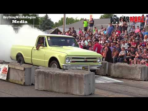 Old Yellow Chevy Pickup Truck Burnout At Rod Benders Burnout Competition
