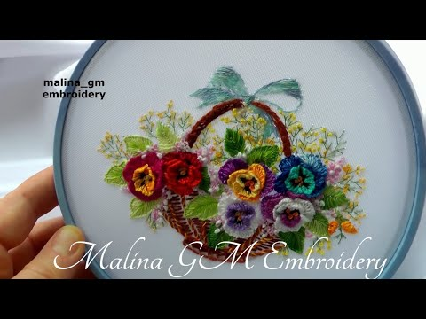 Flower embroidery : Pansies   Цветочная вышивка: Анютины глазки