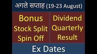Bonus , Stock Split, Spin Off , Dividend and Quarterly Result की रखी है अगले सप्ताह में