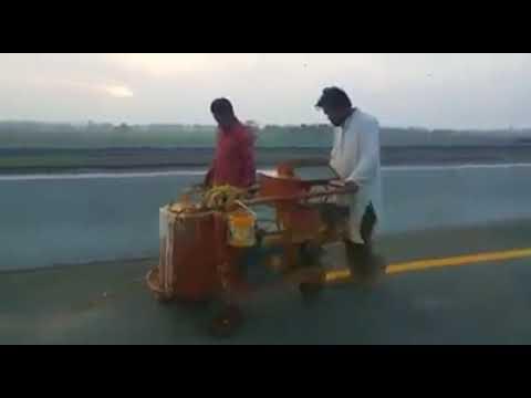 Lane Marking In Progress At 91 KM From Sialkot To Lahore Motorway